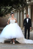 2016 Sheer Long Sleeves Lace Ball Gown Wedding Dresses Vinta...