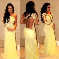 Yellow lace chiffon prom dresses 2016 sheer long sleeve one ...