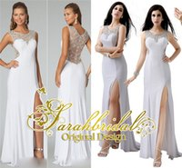 2015 Sexy Split Prom Dresses Luxury Crystals Illusion Backle...