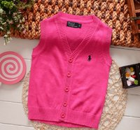 Gilrs V- neck Embroidery Knitted Sleeveless Kniting 2015 Chil...