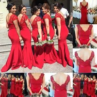2015 Red Bridesmaid Dresses with Cap Sleeve V- Neck Lace Merm...