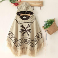 Cheap Hot Sale Bohemia Tassel Poncho With A Hood Knitted Shawl Autumn And Winter Sweater Outerwear Free Shipping