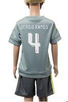 2016 Kids Boy Black Soccer Jersey + Short Youth 15 16 Camiset...