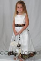 Новый Camo цветок девочки платья White And Камуфляж Zip Длина спинки Дети принцессы Платья Линия пола 2016 года Свадебные Детские платья для партии