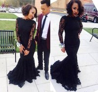 2016 Beteau High Neck Long Sleeves Full Lace Mermaid Prom Dr...