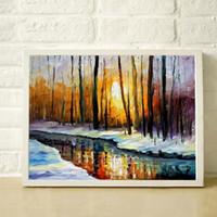 Осень зима лес река современный дом украшения стиль холст картина маслом высокого качества палитра густое масло нож покраска JL023