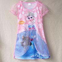 3 Color Summer Frozen Dresses Children Girl' s cotton sh...