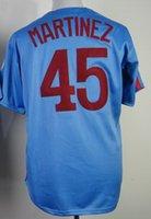 2015 #45 Pedro Martinez Blue Stitched Throwback Baseball Jer...