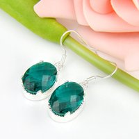 Party Jewelry- - 2pairs Lot Lucky Shine Trendy Oval Green Quar...