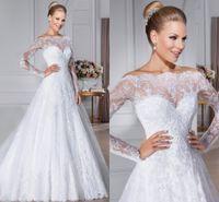 Vintage Sheer Off Shoulder Lace Tulle Wedding Dresses 2016 W...