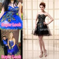 Cheap Short Black Peacock Homecoming Graduation Dresses Unde...