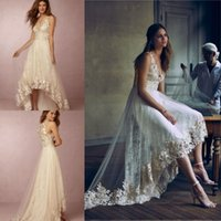 BHLDN 2016 Modest Spring Appliqued Lace High Low Wedding Dre...