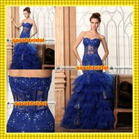 Sweetheart Neckline Prom Dresses 2015 Royal Blue Tiered Ruff...