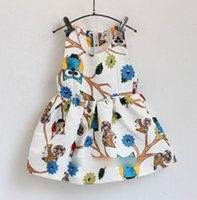 Girls Dresses Girl Clothing Sleeveless Vest Sundress Owl Flo...