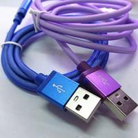 1M câble en acier Mesh micro USB chargeur tressé V8 Data Sync cordon de chargement ligne de données haute vitesse pour iPhone Samsung