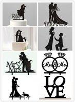 Hot Wedding Cake Black Topper Personalized Acrylic Cake Topp...