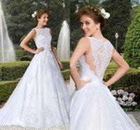 Wedding Dresses 2015 Wedding Dress with Cap Sleeves Spring V...