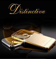 Para el iphone 6s 6 más la caja de lujo de parachoques del metal de aluminio del marco del borde con espejo Cubierta posterior de la cubierta protectora a prueba de polvo para Samsung borde S6 S7