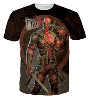 Novo quente! VENDA! Outdoor running t-shirt Marvel Comics 3D Deadpool super-herói cartoon jogo X-Men verão t shirts 200PCS 2051