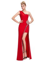 Grace Karin New One Shoulder Red Prom Dress High Split Eveni...