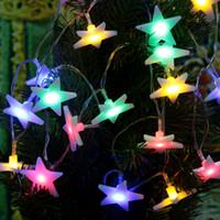 LIXADA 2.1M 20 LED multi colore a cinque punte piatto Lampada Stelle Fata luce della stringa per la festa nuziale Natale Home Decora la stanza DHL L0553