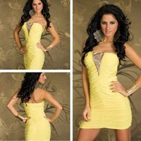 2015 new!!! yellow Strapless Sleeveless backless slim dress ...