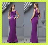 2015 Long Purple Satin Mermaid Bridesmaid Dresses Cheap Unde...
