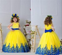 2015 Yellow and Royal Blue Lace Little Flower Girls' Dr...