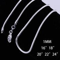 Livraison gratuite Bijoux Fashion 925 Serpent Collier chaîne de charme Pendentif en forme 1MM 16-24 pouces 100PCS / lot