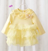 Baby Clothes Girls Lace Dresses Infant Girl Solid Long Sleev...