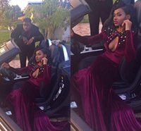 Сексуальное Русалка темно-красный одевает Jewel Кихол шеи бисером Кристаллы бархата развертки поезд Формальное вечеринок платья BA1329 халат де soriee