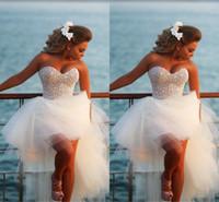 Изысканный Перл Хай-Лоу Короткие свадебные платья Beach Beach 2015 Casomento Sexy Corset Вышитый бисером Милая Высокие Низкие Свадебные Платья