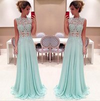 Light Sky Blue Prom Dresses with Illusion Neck 2015 New Fash...