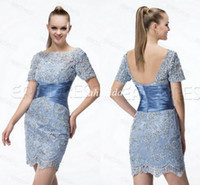 2015 Short Sleeve Evening Cocktail Dresses Fabulous Tulle Sh...