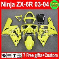 ALL Yellow 7gifts For KAWASAKI NINJA ZX6R 03- 04 ZX- 6R ZX636 ...