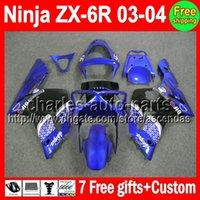 7gifts For KAWASAKI Factory blue NINJA ZX6R 03- 04 ZX- 6R ZX63...