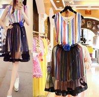 2015 Lovely Big Girls Set Rainbow Striped Sleeveless Tops + ...