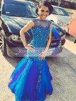 Blue Beaded 2k15 Prom Dresses Applique Bateau Neckline Merma...