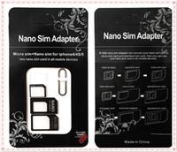 DHL livraison gratuite Nano Carte SIM Adaptateur standard de carte SIM Micro Converter Eject Pin Set 4 en 1 pour l'iPhone 4 4S Galaxy S4 S5 MQ500