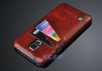 Une Huile de haute Qualité de la Cire de Grain Dur en Cas de Retour de cas de Couverture Pour Samsung Galaxy S5 i9600 Avec des fentes pour carte