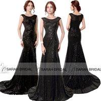Black Sequined Evening Dresses Sparkling Beaded Mermaid Vest...