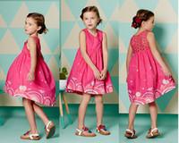 baby girl kids lace vest dress vintage flower floral print d...