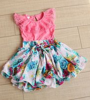 Baby Girls Dresses Lace Bow Girl Dress Children Flower Print...