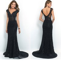 Sexy Mermaid Prom Dresses Lace Applique Crystals V- Neck Slee...