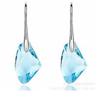 Jolie Boucles d'oreilles en Cristal Autrichien de Luxe 925 Boucles d'oreilles en Argent Sterling pour bijoux féminins