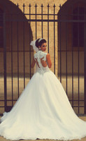 Кружева Свадебные платья 2015 Саид Mhamad линия Удивительные Бисероплетение Pearls Pricess Люкс бальные платья высокого шеи арабский Vestidos De Noiva