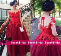 2016 Wine Red Tulle Evening Dresses Beautiful Long Ball Prom...