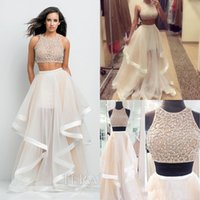 2016 Crystal Sequins Two Pieces Prom Dresses Sexy Crew Neck ...