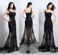 Sheer Black Lace Tulle Evening Dresses 2015 One Shoulder App...