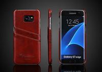 modèle en cire d'huile de luxe PU Slots de cartes en cuir Téléphone peau cas couverture rigide pour Samsung Galaxy S7 / S7 Bord